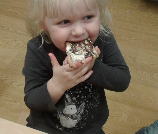 Preschool make biscuits with our very own nursery Cook