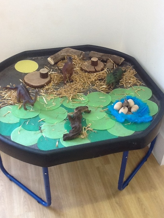 Preschool 1 had a dinosaur themed week last week, which was started by one of the children talking non-stop about dinosaurs!