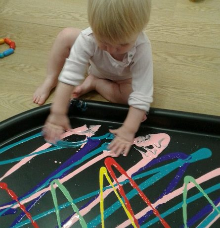 Hand and finger painting in the baby room