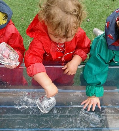 PreToddlers make a splash in the garden