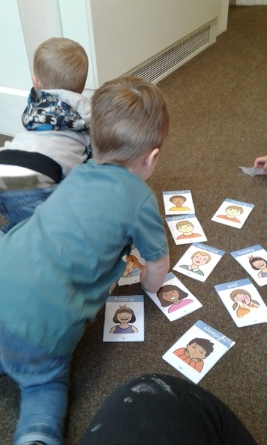 In toddler room we have been exploring different feelings and emotions. We played a game of snap matching together the different faces to create a pair.