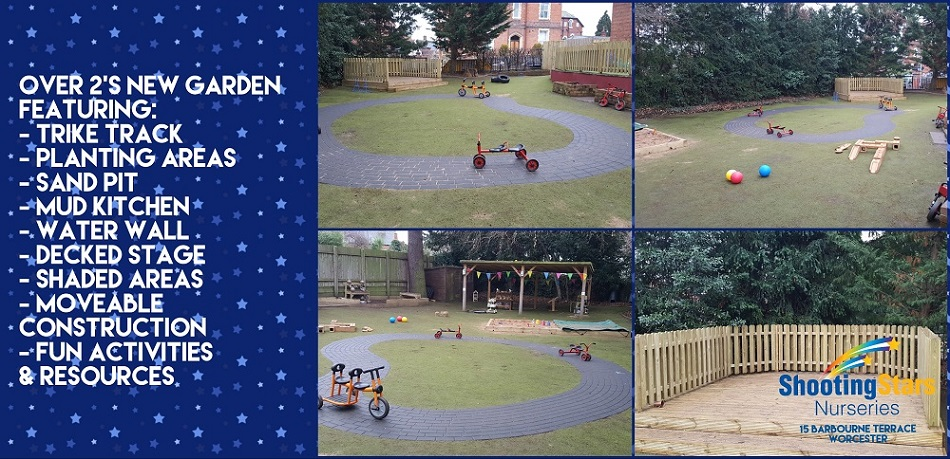 Exploring the new garden at Shooting Stars Worcester