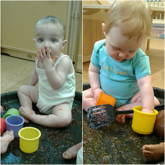Yesterday in the baby room we enjoyed getting messy exploring jelly!