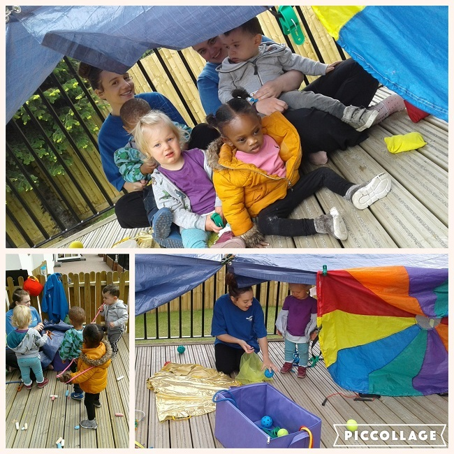 It was an active afternoon for the toddlers building a den in the garden