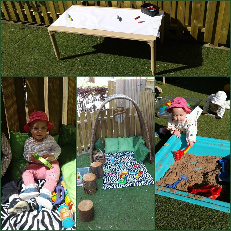 The babies at Shooting Stars Worcester enjoyed playing in the garden yesterday, making the most of the nice sunshine.