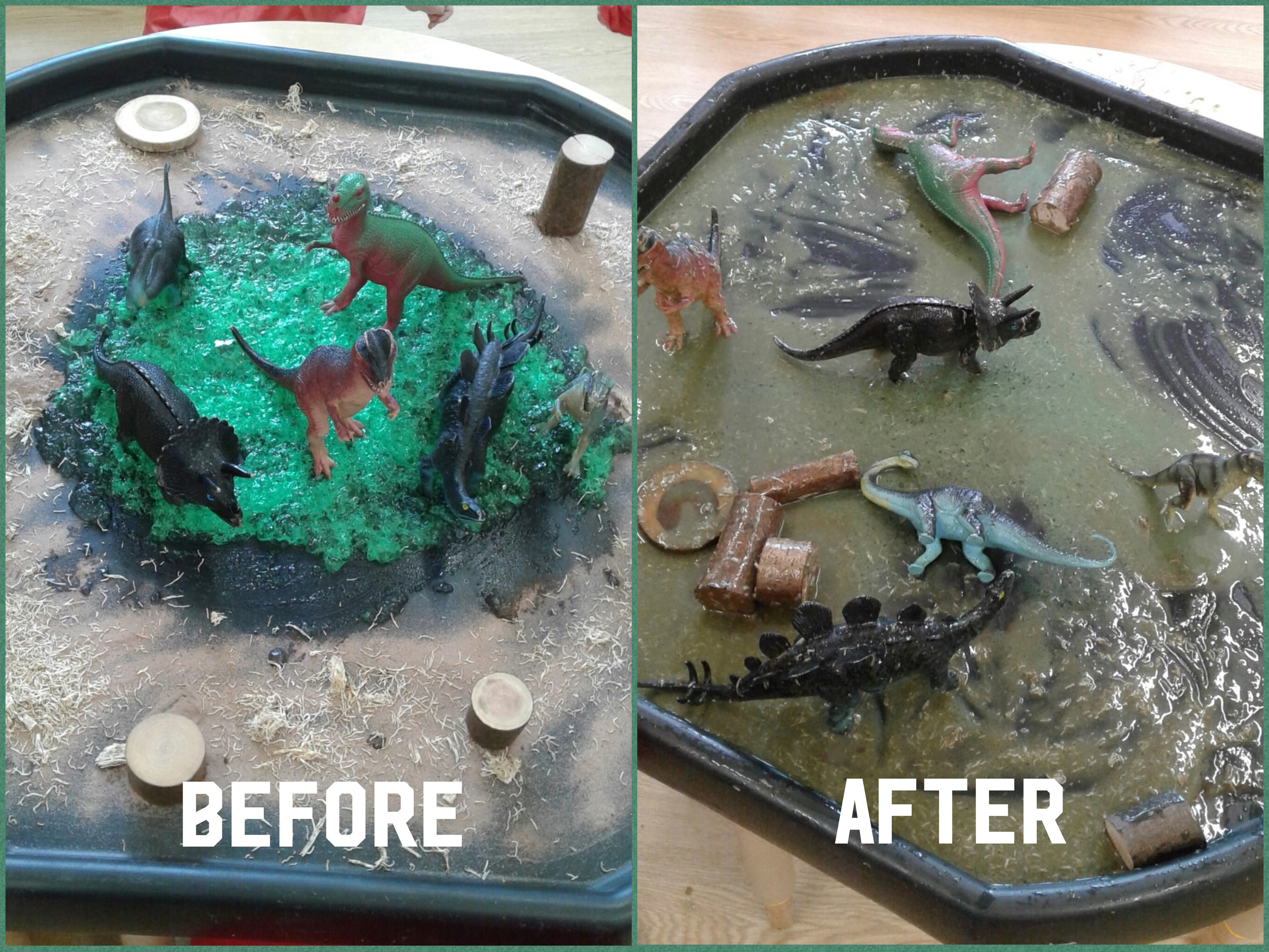 The children have shown an interest in dinosaurs so we decided to explore more by creating our very own dinosaur swamp