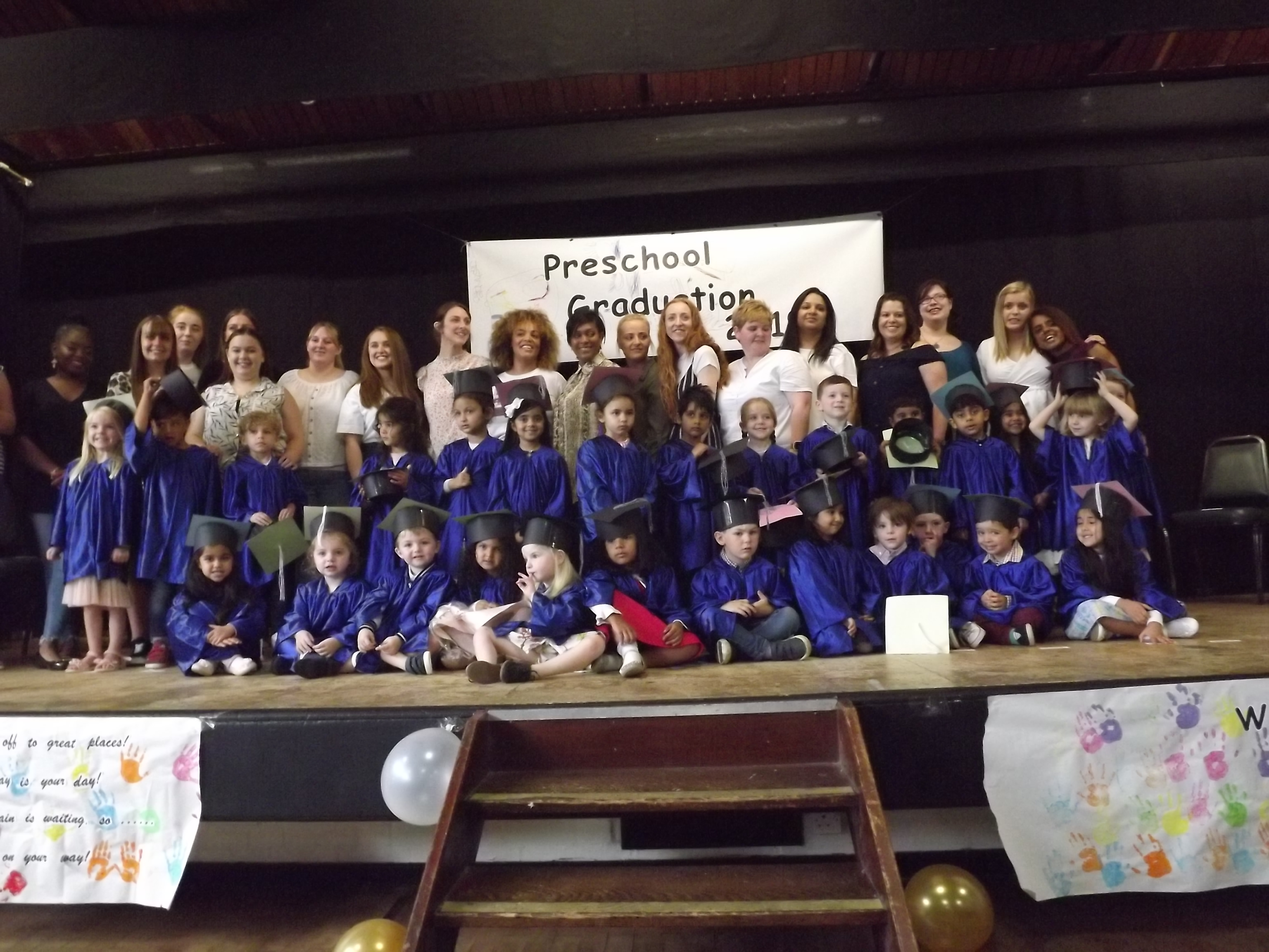 The Preschool leavers came together with their families and staff to celebrate their graduation from nursery