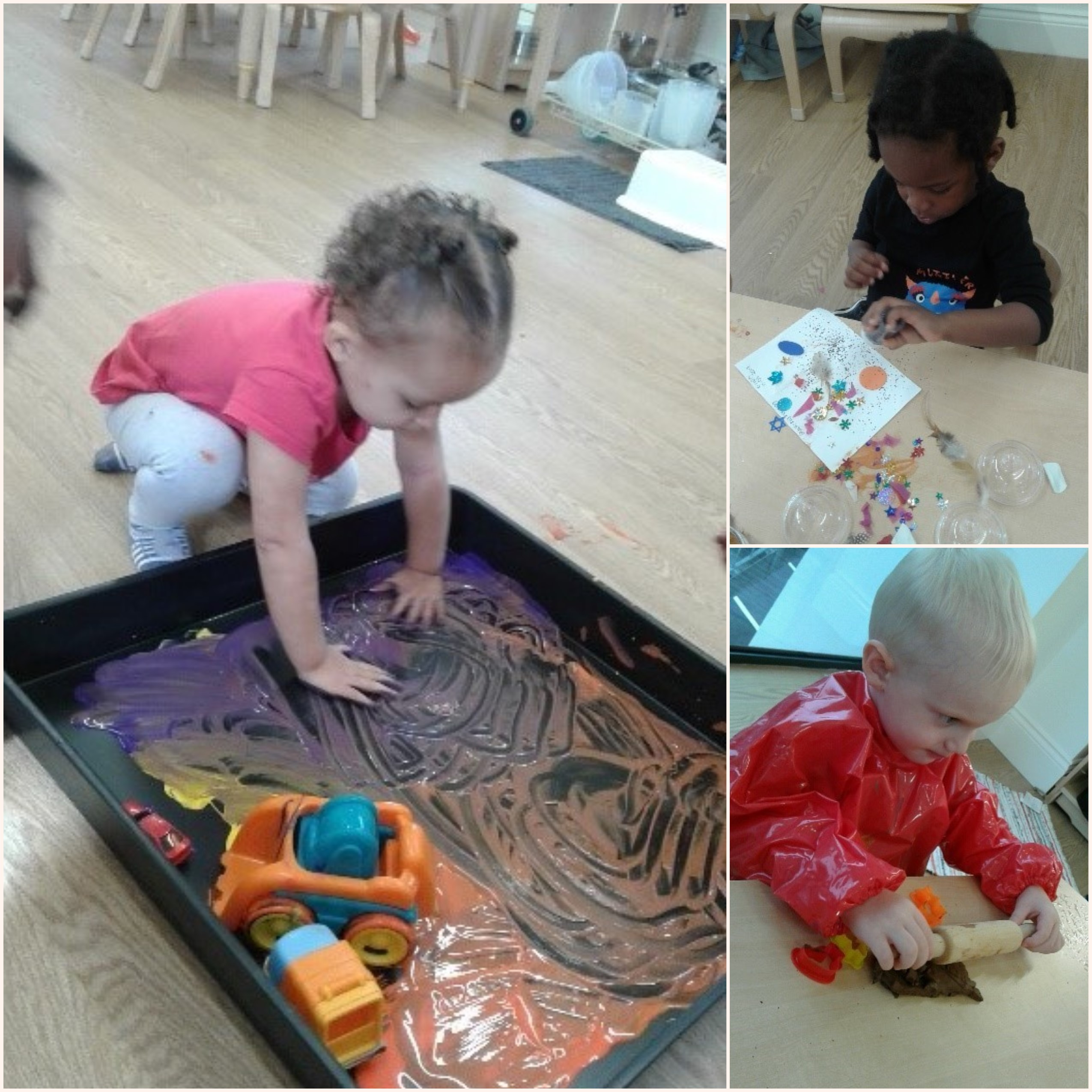 The toddlers have been very inquisitive, exploring all different types of creative materials and methods.