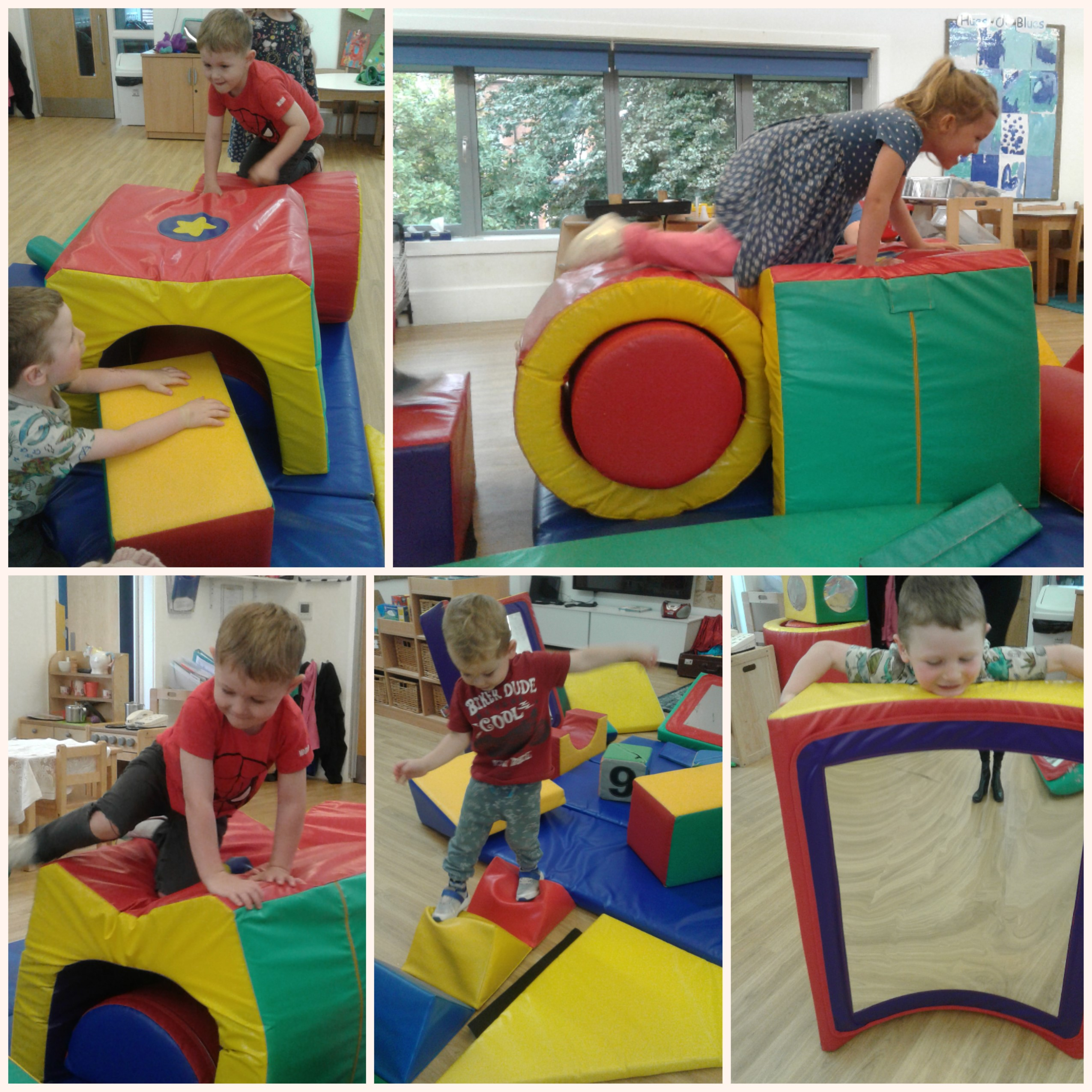 The preschool children love getting active whilst exploring what they can design and build with the soft play.