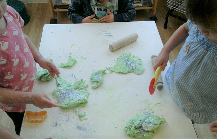 The pre-school children love to make playdough, with a little bit of adult help