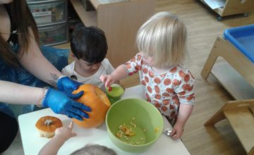 The Pre-toddlers are having freaky fun at their spooktacular Halloween party!