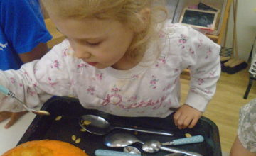 Creepy pumpkin carvings are being created by Pre-school today!