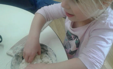 Pre-School 2 have been exploring malleable materials and making their own playdough by accessing our playdough station.
