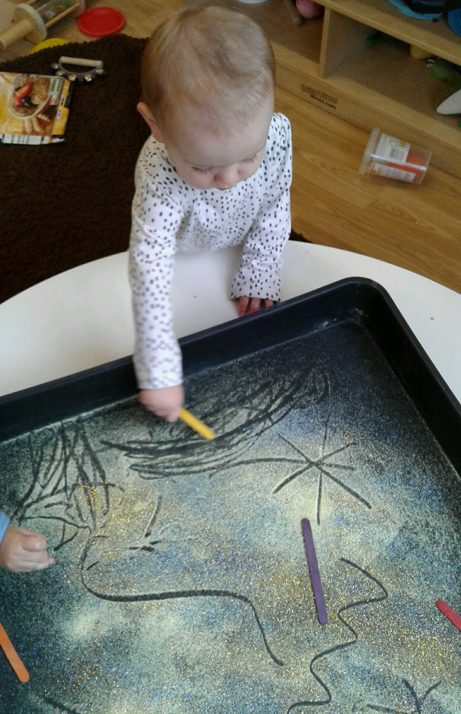 Inspired by the fireworks and bonfires this week, Hinckley Babies have been busy with lots of different activities focussing on mark making and getting very messy!