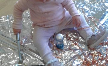 Today the babies have been exploring different objects that are shiny and reflective.
