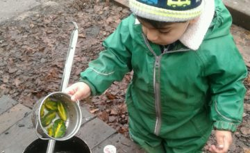 Pre-toddlers have had lots of fun exploring potion making during outdoor play