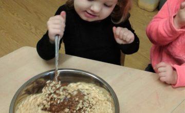 """Ooh chocolate!"" - Pre-School 1 really enjoyed making rice crispy cakes."