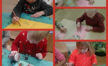 Pre-School have been busy making cards and decorations.