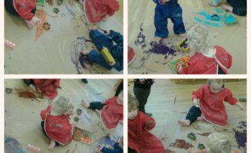 The Toddlers have been doing some large scale mark making, creating different marks by using our hands and feet!