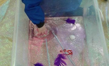 Today the Babies have been exploring the very glittery water and getting messy!