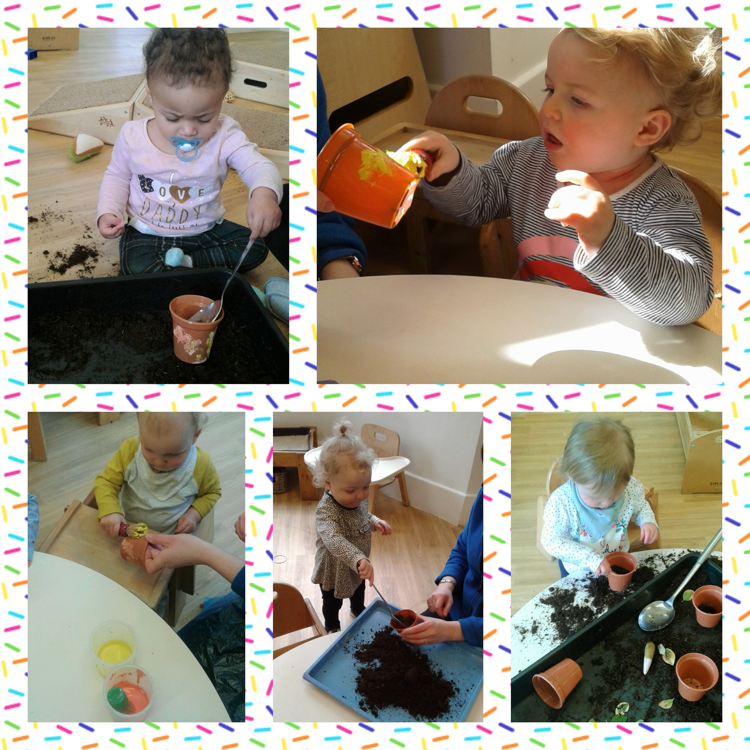 The Babies have been preparing for Mothers day by painting plant pots and putting seeds into them!