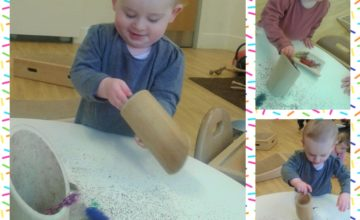 The Babies have enjoyed developing their fine motor skills by dropping feathers into the different bamboo tubes!