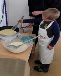 Last week Pre-school were busy making pancakes for Shrove Tuesday.