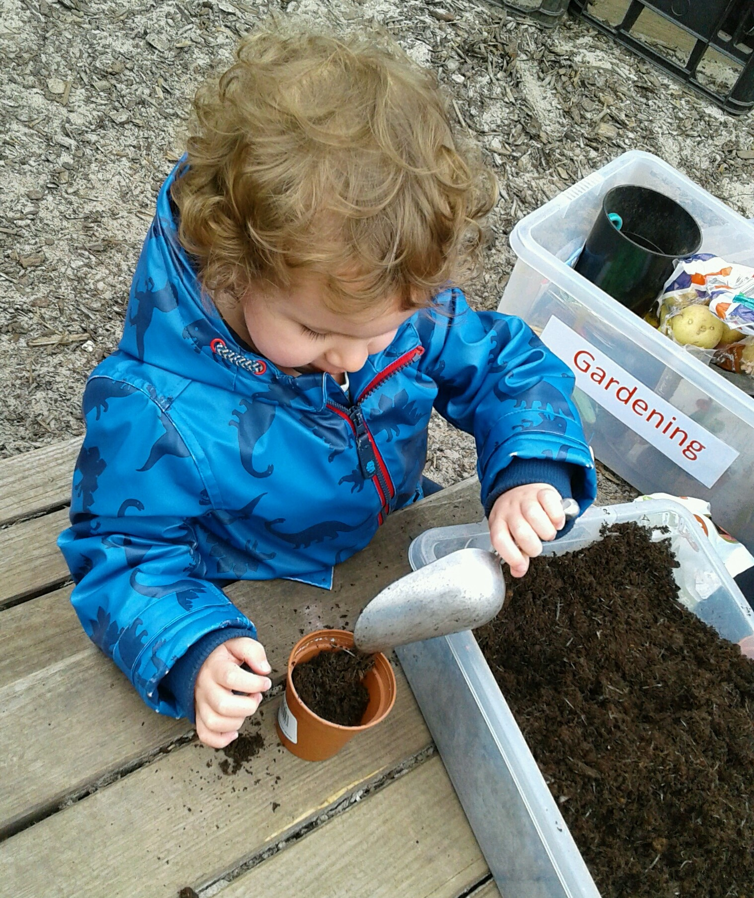 Today we have had lots of fun planting seeds outdoors.