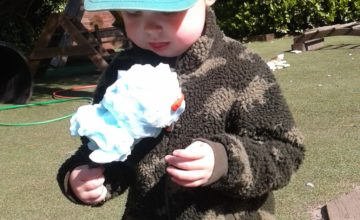 Today we had lots of fun exploring the foam outside and making our own