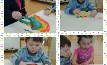 Today Hinckley have had lots of messy fun using scrapers and bright paint to make wonderful rainbows!