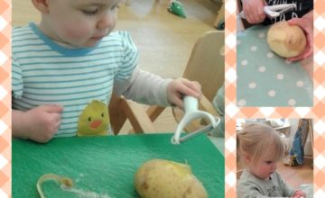 To continue on from our potato planting, we have started exploring different potatoes by peeling them very carefully using a potato peeler.