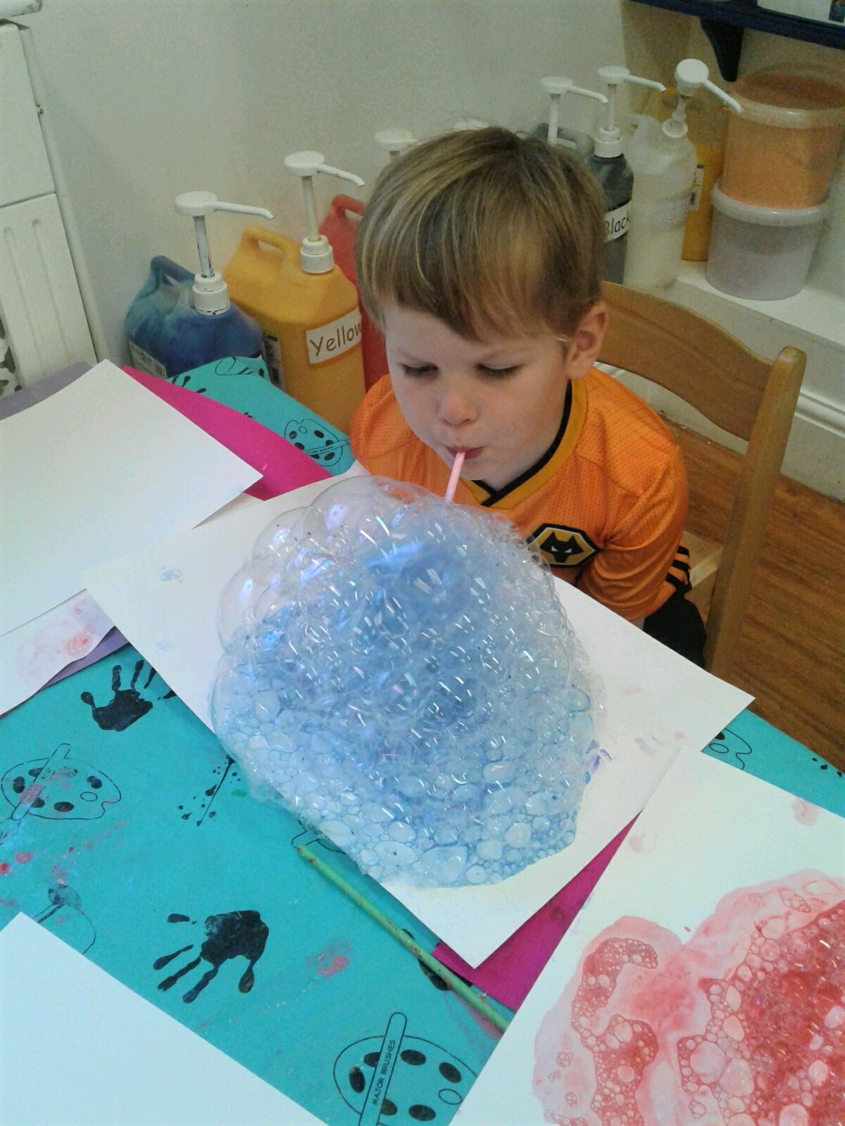 This week we had great fun exploring bubble painting.