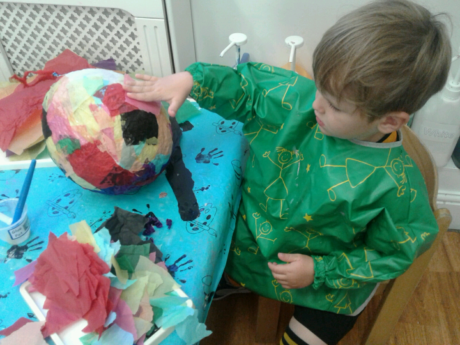 At Stourbridge we have been making our own rainbow hot air balloons to decorate our garden