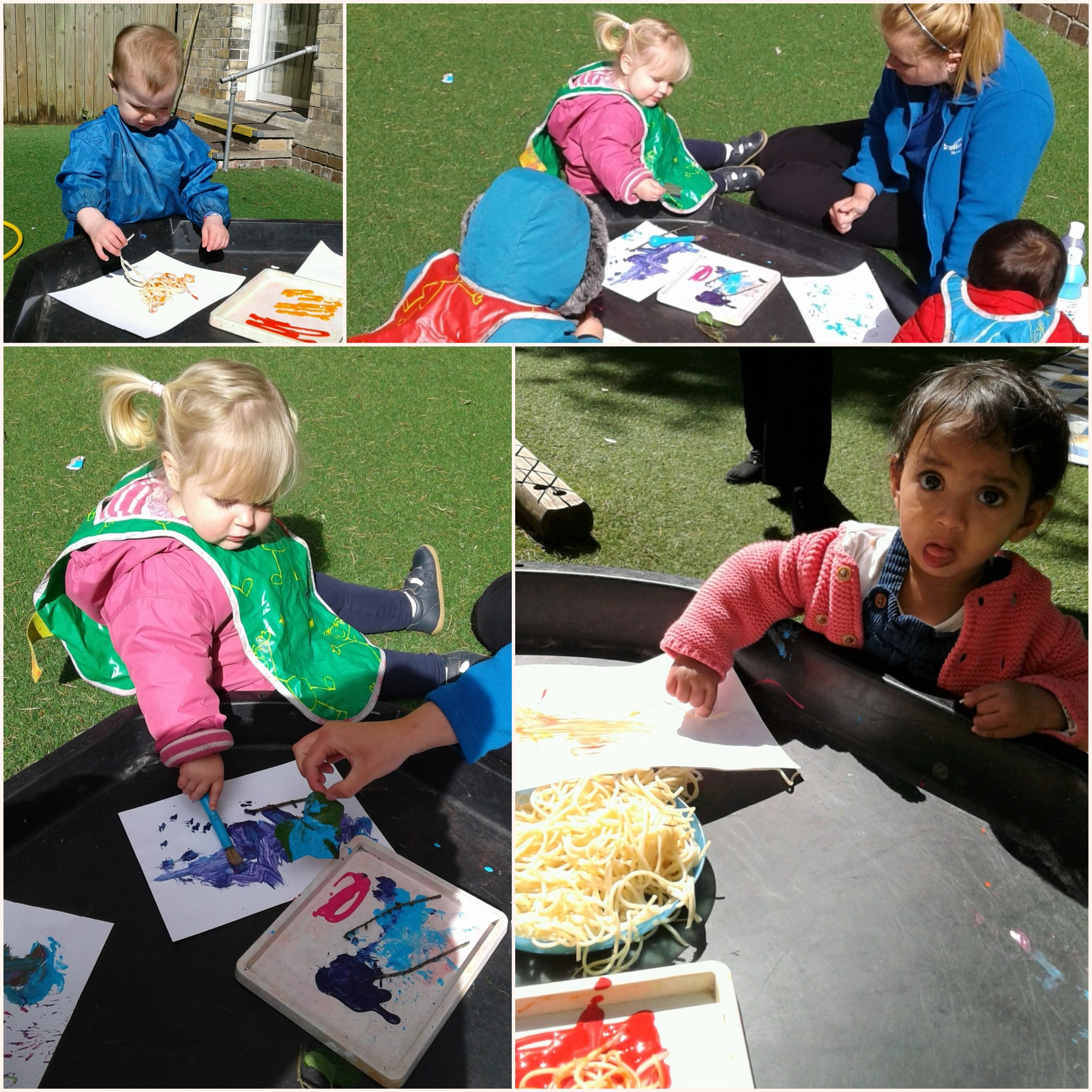 This week we have had lots of fun exploring in the garden with different mark making activities.