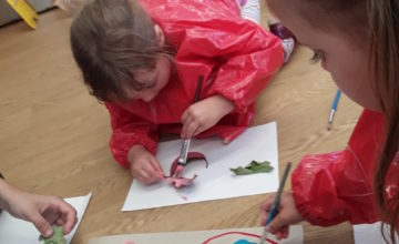 The children and staff are having lots of fun getting creative in Pre - School.