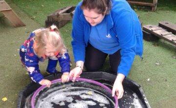 The Toddlers have really enjoyed experimenting outside with bubbles.