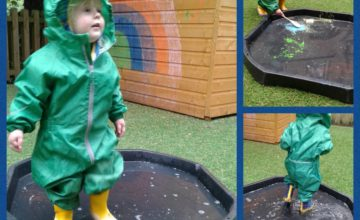 After weeks of beautiful weather, today at Wolverhampton we had lots of fun splashing in the rain in our wellies