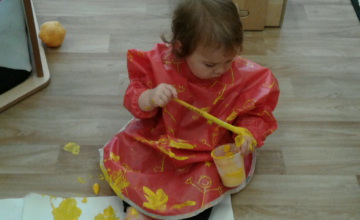The Babies have had lots of fun mark making using different tools.