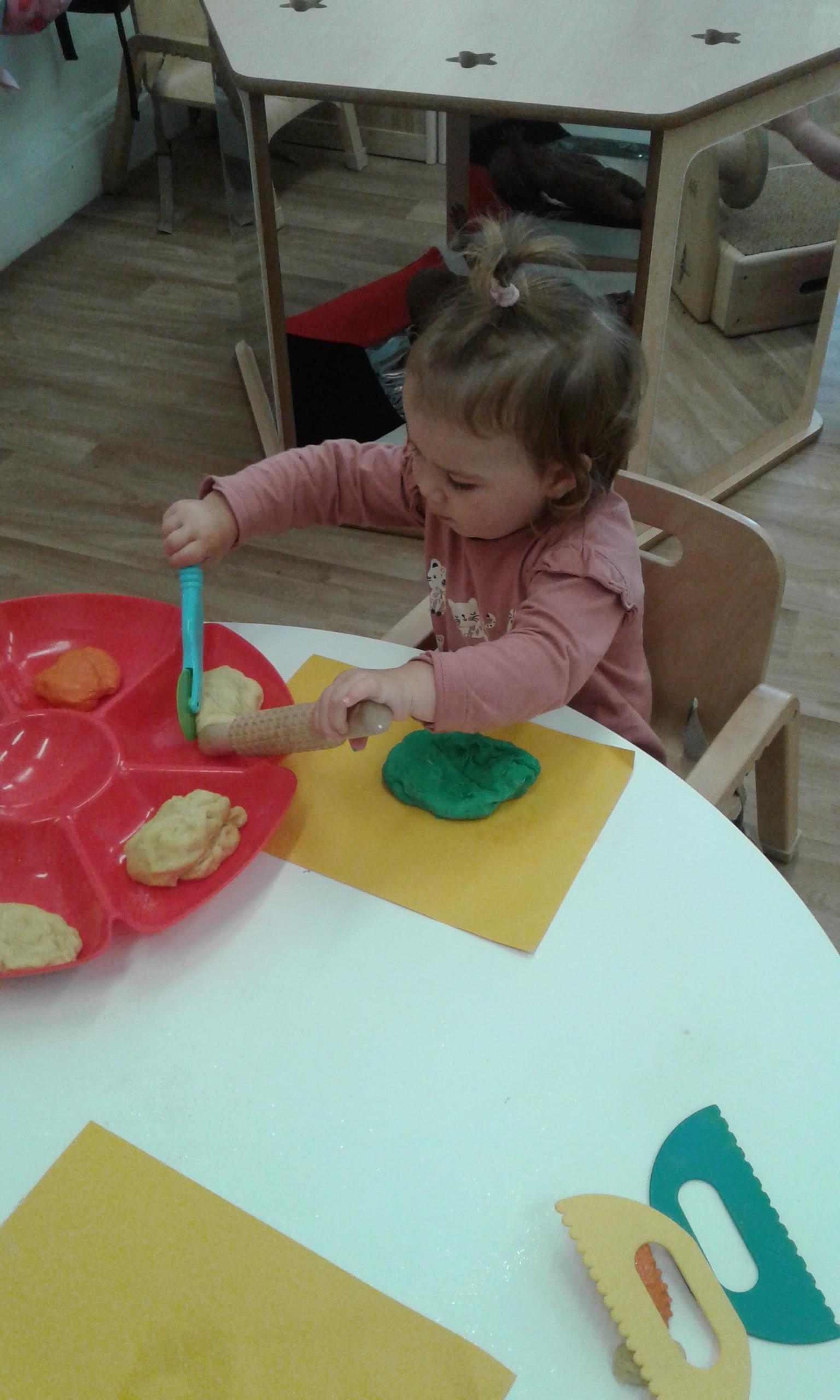 The babies at Stourbridge have had fun exploring play dough.