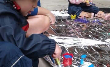The toddlers have been explored mark making outside