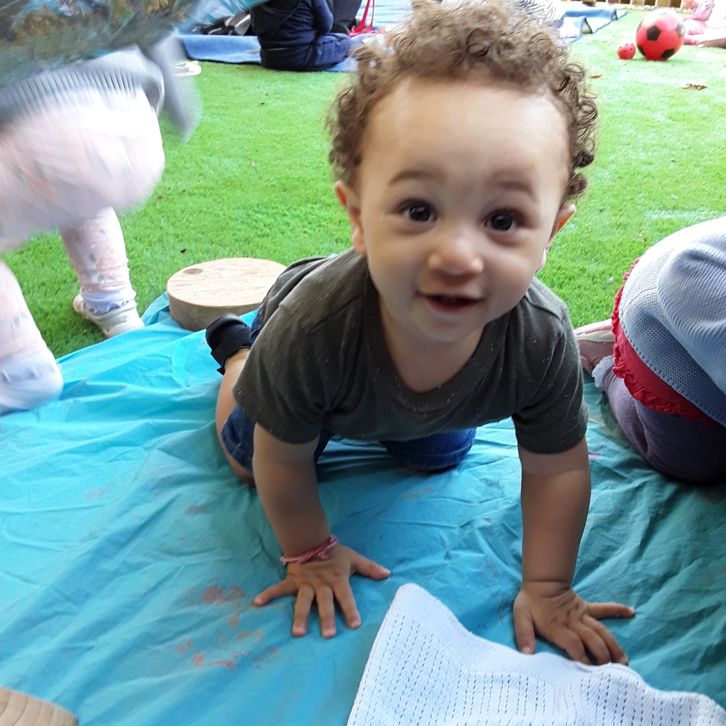 The Kings Norton babies enjoyed den building in the baby area of the garden