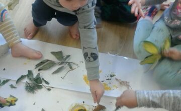 The Preschool children have been exploring autumn through mark making