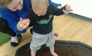 The babies have been exploring different textures with their feet