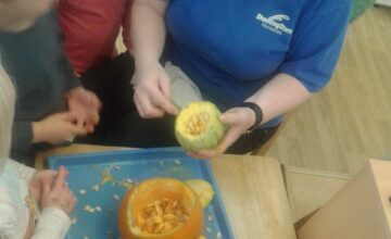 The Preschool 2 children have been exploring pumpkins and squash