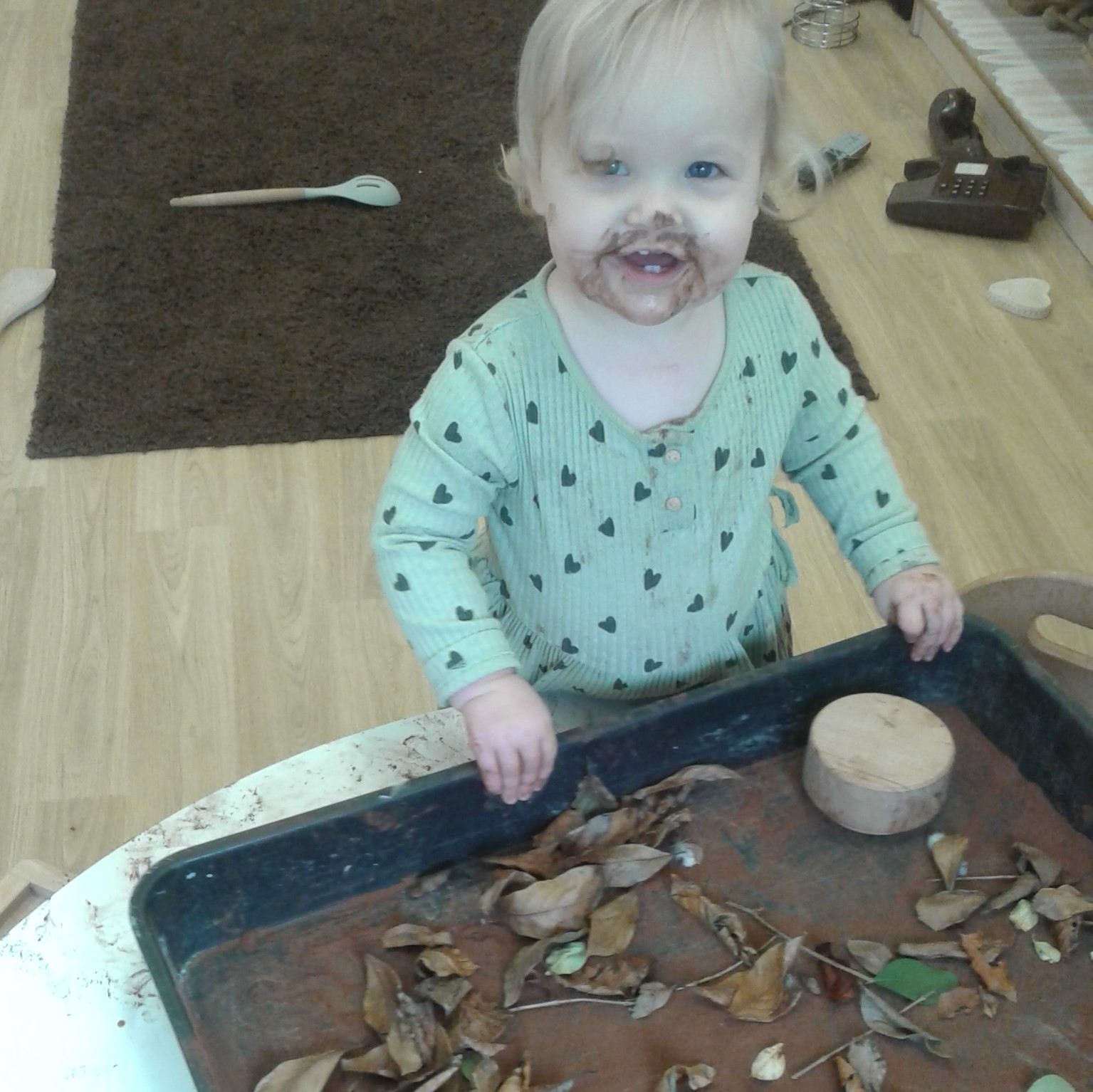 The babies have been exploring autumn through a variety of sensory activities