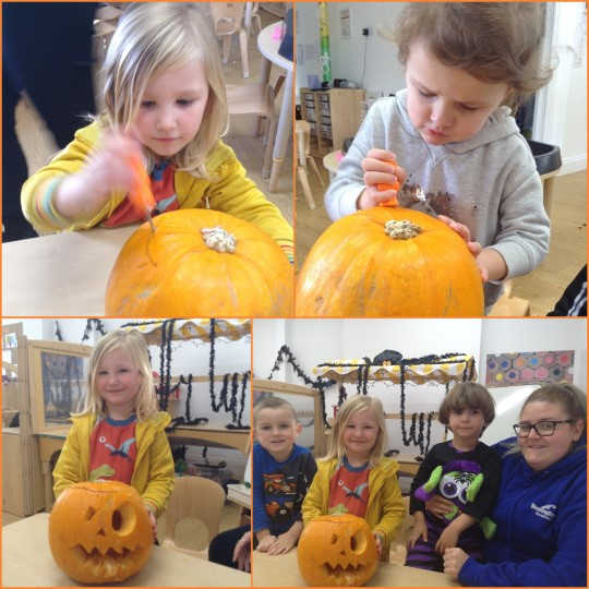 Preschool have had great fun carving pumpkins