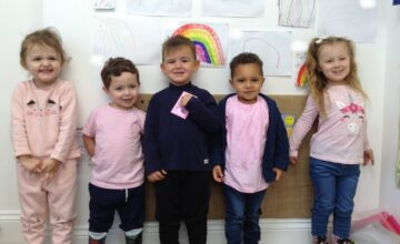 The children and staff at Shooting Stars Bromsgrove have enjoyed fundraising for Breast Cancer Now by wearing pink today