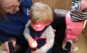 The Kings Norton Pretoddlers enjoyed exploring torches in their den