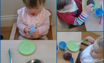The babies have been exploring chocolate play dough!