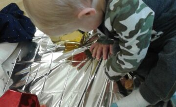 The babies have been exploring shiny objects